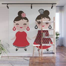 Spanish Woman flamenco dancer. Kawaii cute face with pink cheeks and winking eyes. Gipsy girl Wall Mural