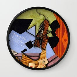 Violin and Playing Cards on a Table Wall Clock