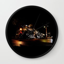 Riding on Front. UP 4014. Union Pacific. Steam Train Locomotive. Big Boy. © J. Montague. Wall Clock