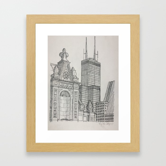 Chicago - Wrigley and Willis Framed Art Print