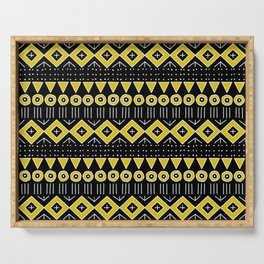 Mudcloth Style 2 in Black and Yellow Serving Tray
