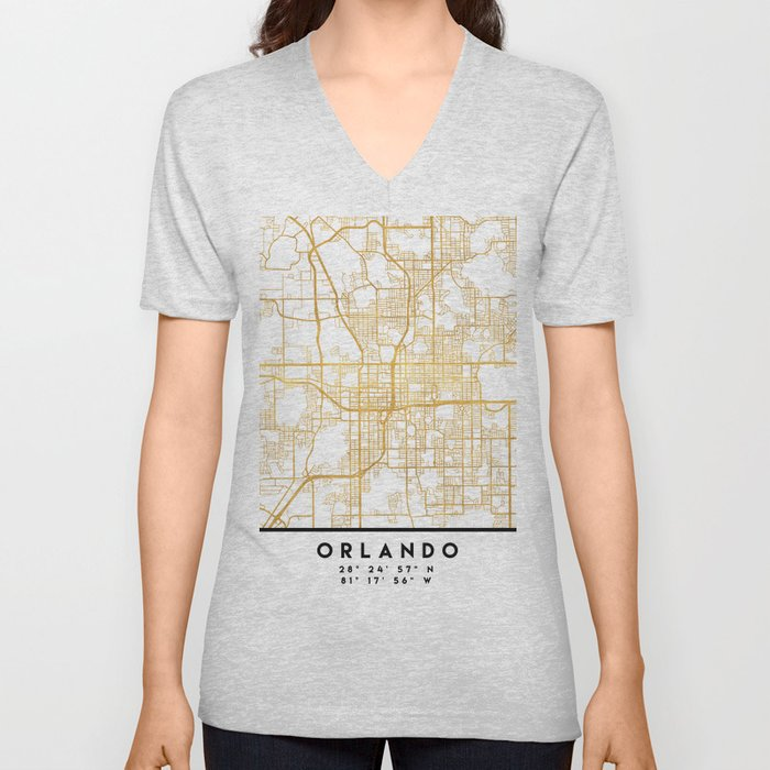 ORLANDO FLORIDA CITY STREET MAP ART Unisex V-Neck