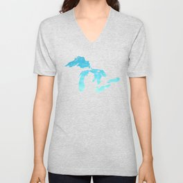 Great Lakes Blue Watercolor Unisex V-Neck