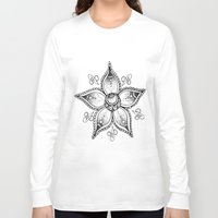 henna Long Sleeve T-shirts featuring Henna Flower by Ava Elise