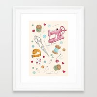 sewing Framed Art Prints featuring Sewing by Epoque Graphics