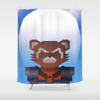 rocket raccoon Shower Curtains featuring Guardians of the Galaxy - Rocket Raccoon by Casa del Kables