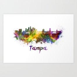 Tampa skyline in watercolor Art Print