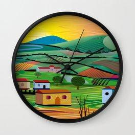 Sunset over Fields Wall Clock