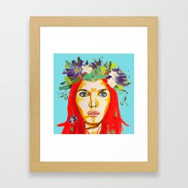 Red haired girl with flowers in her hair Framed Art Print