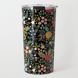 Amazing floral pattern with bright colorful flowers, plants, branches and berries on a black backgro Travel Mug