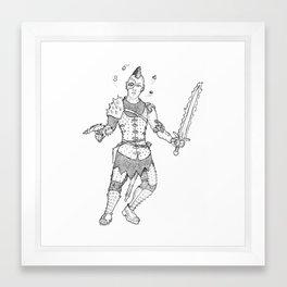 Medieval Cyberpunk Warrior Framed Art Print