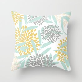 Floral Prints, Leaves and Blooms, Yellow, Gray and Aqua Throw Pillow