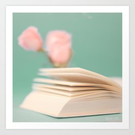 Book Pages on Blue background (Retro Still Life Photography)  Art Print