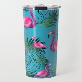 Summer Flamingo Palm Vibes #2 #tropical #decor #art #society6 Travel Mug