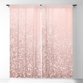 Rose Gold Sparkles on Pretty Blush Pink VI Blackout Curtain