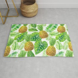 Pineapples and tropical leaves  Rug