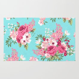 Cottage Chic Pink and Red Roses on Turquoise Linen Rug
