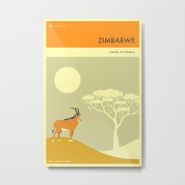 ZIMBABWE TRAVEL POSTER Metal Print