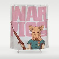 pigs Shower Curtains featuring War Pigs by FlushDelay