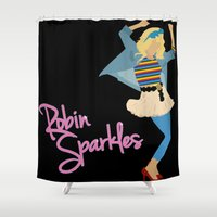 sparkles Shower Curtains featuring Robin Sparkles by Evelyn Gonzalez