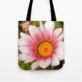 Southern African White ❁ Purple Gazania Flower Tote Bag