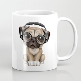 Cute Pug Puppy Dj Wearing Headphones and Glasses Coffee Mug