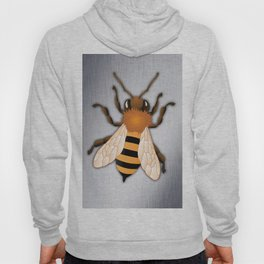 Bee over Brushed Steel Background Hoody