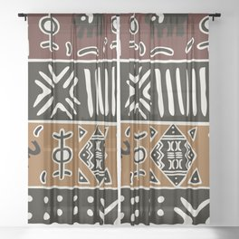 African mud cloth with elephants Sheer Curtain