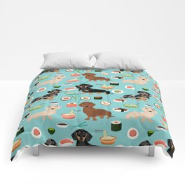 dachshund sushi multi coat doxie dog breed cute pattern gifts Comforters