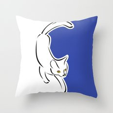 Cat in motion Throw Pillow