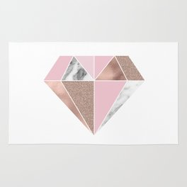 Marble and rose gold tones - diamond Rug
