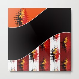Bright colorful abstract pattern in red and black colours . Patchwork . Metal Print