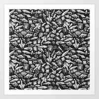 Aquatic I: White on Black Art Print