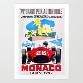 Monaco 1957 Grand Prix - Vintage Poster Art Print