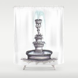 Fountain Ink Sketch Shower Curtain