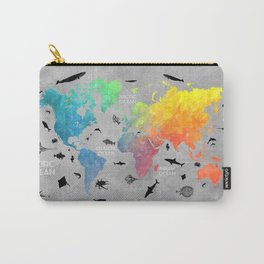 Map of the world grey text Carry-All Pouch