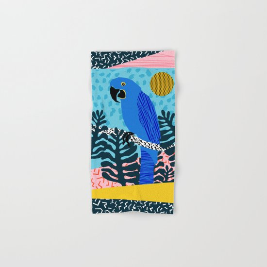 Steaz - memphis throwback tropical retro minimal bird art 1980s 80s style pattern parrot fashion Hand & Bath Towel