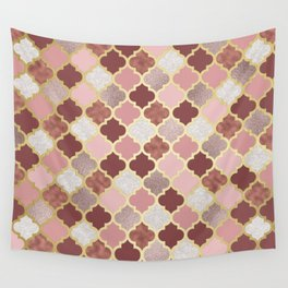 Warm rose gold moroccan Wall Tapestry