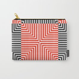Optical illusion with red and black stripes Carry-All Pouch