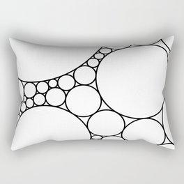 Geometric Abstract - Circles (Black) Rectangular Pillow
