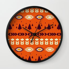 Holiday pattern with Christmas trees Wall Clock