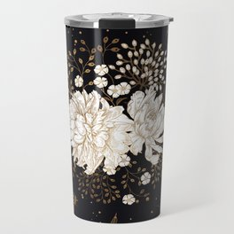 Hand drawn vintage bouquet flower on dark background illustration Travel Mug