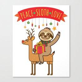 Peace Sloth Love Canvas Print