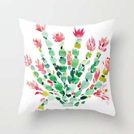 MERRY CACTUS Holiday Watercolor Throw Pillow
