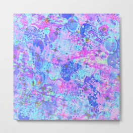 TIME FOR BUBBLY, AGAIN - Pastel Turquoise Baby Blue Purple Pink Feminine Bubbles Abstract Painting Metal Print