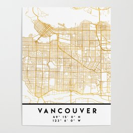 VANCOUVER CANADA CITY STREET MAP ART Poster