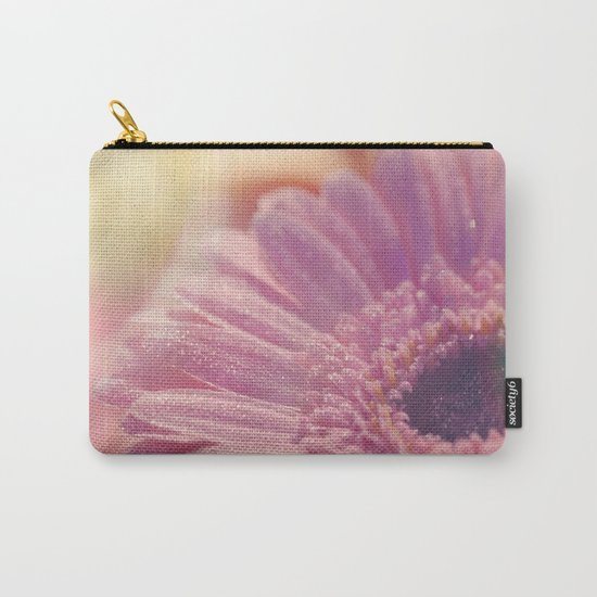Pink Gerbera Daisy Flower with sparkling waterdrops #Society6 Carry-All Pouch