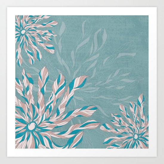 Flower Power Teal/Pink Art Print