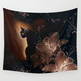 Black Kitty Halloween Wall Tapestry