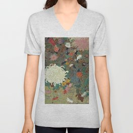 flower【Japanese painting】 Unisex V-Neck